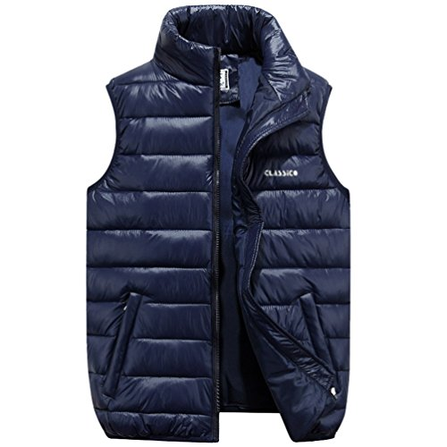 NiSeng Hombre Chaqueta de Pluma Sin Mangas Chalecos Planicie Ligero Cálido Abrigo de Invierno Azul oscuro 6XL