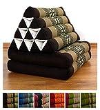 Kapokkissen der Marke Livasia, Thaikissen aus Thailand, Thaikissen mit 2 Auflagen, Dreieckskissen bzw. Triangelkissen als Jumbo XXL Sitzkissen und Thaimatte (braun / Elefanten)