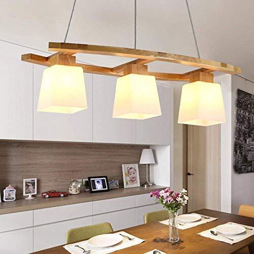 ZMH Pendelleuchte esstisch Pendellampe Holz und Glas Hängeleuchte 3 x LED E27 Hängelampe retro Deckenleuchte für Esszimmer/Wohnzimmer/Büro/cafe Leuchtmittel inklusiv von ZMH