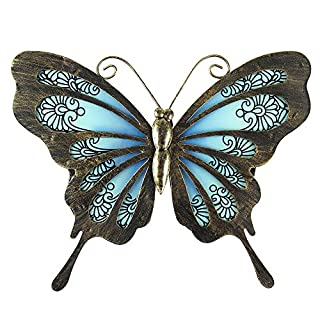 Liffy Metal Butterfly Wall Decor Outdoor Art Decorations Blue Dark for Living Room Bedroom