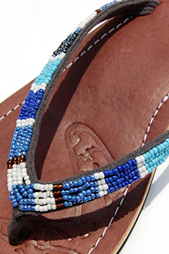 SEESTERN Damen Leder Zehentrenner Zehensandale Zehensteg Sandalen in Größe 36-44 Grau_Blau