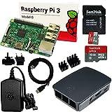 Raspberry Pi 3 Set mit 16 GB SanDisk SD, HDMI, original Netzteil und Gehäuse, Kühlkörper (schwarz)