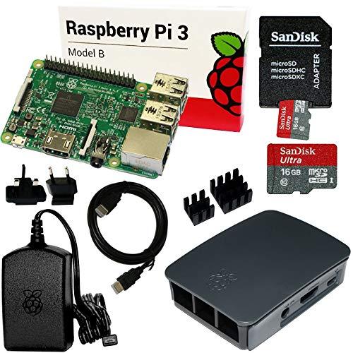 Raspberry Pi 3 Set mit 16 GB SanDisk SD, HDMI, original Netzteil und Gehäuse, Kühlkörper (schwarz) - Gehäuse-set