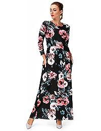 SAYFUT Women Floral Dress with Pockets Long Maxi Dress Party Wear Quater Sleeve Waist Line Dress Casual Polyester Beach Dress S-3XL