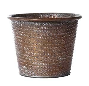 Pot de fleurs jardinière Couleur Cuivre Effet vieilli avec Dimple Design Petit 13,5cm Haute