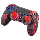 DOTBUY PS4 Controller Funda Siliconas Protector Protectora Mando de PlayStation 4 PS4 Slim PS4 Pro Game Cubierta de de 1 Colores con 1 Pares de Agarres Pulgar (Camo Rojo)