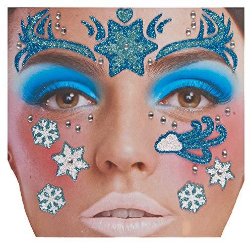 Schneeflocke Kostüm - Andrea Moden Glitzer Gesichts-Tattoo Set Klebetattoos -