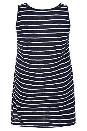 Yours Clothing - Débardeur - À Rayures - Sans Manche - Femme bleu bleu Bleu Marine