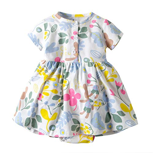 MOIKA Baby Mädchen Kleider, (3Monate-24Monate) Neugeborene Kleinkind Kind Kleinkind Baby Mädchen Kurzarm Blumenkleid Princess Romper Dresses Clothes Outfit Body Dress Pink Princess Outfit