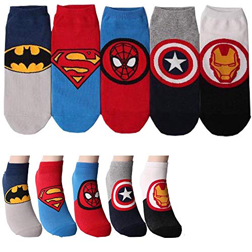 Marvel Charakter Herren Knöchel Socks mit Beutel Packung mit 5 Paaren - Iron Man, Batman, Kapitan Amerika, Spider-Man, Superman Sneakersocken -