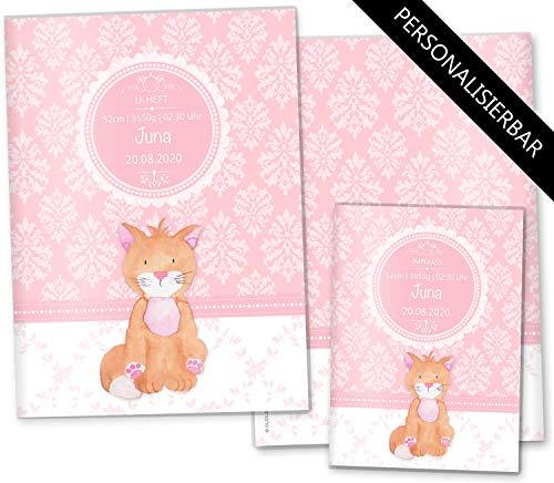 U-Heft Hülle SET rosa Little Lady Untersuchungsheft & Impfpasshülle niedliche Geschenkidee personalisierbar mit Namen (U-Heft Set personalisiert, Katze)
