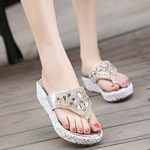 Minetom Damen Mode Sandalen Faux Strass Perlen Flip Flops Sommer Pantoffeln Mit Keilabsatz Silber