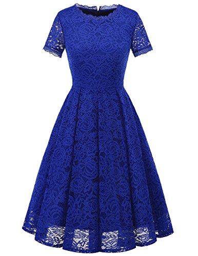 Dresstells Damen Midi Elegant Hochzeit Spitzenkleid Kurzarm Rockabilly Kleid Cocktail Festliche Kleider Royal Blue L -