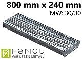 Fenau | Gitterrost-Stufe (R11) XSL – Maße: 800 x 240 mm - MW: 30 mm / 30 mm - Vollbad-Feuerverzinkt – Stahl-Treppenstufe nach DIN-Norm | Fluchttreppen geeignet/Anti-Rutsch-Wirkung