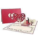 Unomor Hochzeitskarte 3d Glückwunschkarten mit Umschlag, Hochzeitskarten Glückwunsch und Einladung für die Hochzeit, Hochzeit Jahrestag, Brautparty, Romantiktag, Valentinstag, Geburtstag.