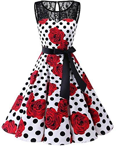 bbonlinedress 1950er Ärmellos Vintage Retro Spitzenkleid Rundhals Abendkleid White Rose Black Dot XL