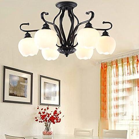 BBSLT Il Natale americano, lampade da soffitto, vita semplice, caldo, camera da letto, sala da pranzo, vetro (68*45cm) - Ash Tonalità Legno