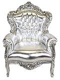Sessel Casa Padrino Barock 'King' Silber / Silber Lederoptik mit Bling Bling Glitzersteinen