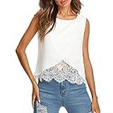 Luckycat T Shirt Bluse Tank Top Damen Sommer Freizeithemd Chiffon Spitze Ärmellos Weiß Mode 2018