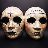 Kreuz Maske & Gott Maske, Halloween-Kostüm Party Couple Maske, Horror Purge maskthe Anarchie Purge Film, Anzug für Unisex-Erwachsene und Jugendliche