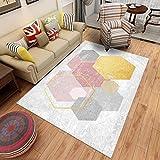YCMXMY Teppich Schlafzimmer Rutschfester Kunstfell Carpet Farbiges Sechseck Warm Und Pflegeleicht 160X230Cm