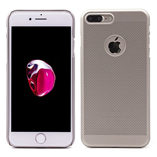 "iProtect Apple iPhone 7 Coque Rigide en Design ""Toile"" en doré IP 7 Plus - noir"