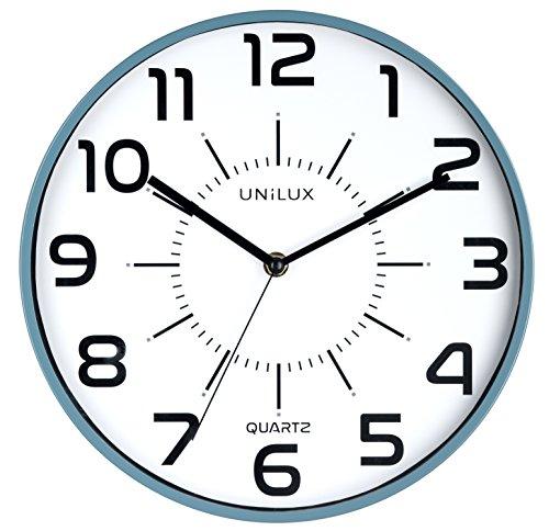 UNILUX 400094560 nicht-tickende Wanduhr POP in blau mit lautlosem Uhrwerk 28,5 cm Ø großes Ziffernblatt ohne Ticken geräuscharm