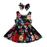 OHQ Filles sans Manches Bow Dress Hairband Set Multicolore Toddler Kid Bébé Fille Vêtements Floral Bowknot Princesse Robes de Soirée Tenues Danse Classique Elegante Grande Miusol (Multicolore, 80)