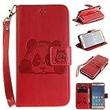 Meet de Red Panda gaufré pour Xiaomi Redmi 3 /Redmi 3S Case, Folio pour Xiaomi Redmi 3 /Redmi 3S PU Housse,Wallet / flip étui / Pouch / Case / Holster / Wallet / Case en cuir Wallet Style de couverture de cas Coque pour téléphone portable Étui Porte-monnaie en cuir étui de téléphone pour Xiaomi Redmi 3 /Redmi 3S - rouge