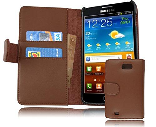 Cadorabo Étui de protection en cuir synthétique lisse pour Samsung Galaxy Note 1 avec compartiment pour cartes Marron