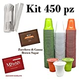 Kit da Caffè, 450 Bicchieri, 300 Zucchero +150 CANNA, 450 Palette