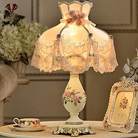 European-style table lamp/Bedroom bedside lamp/Princess Pastoral decorative lamp-1push button