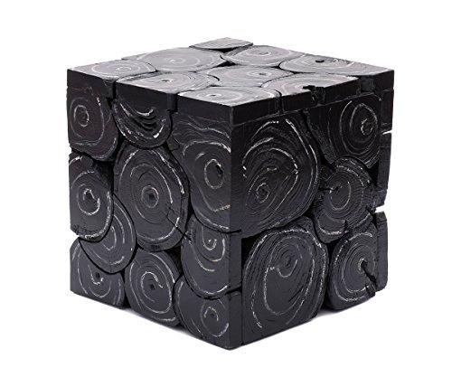 Brillibrum Design Beistelltisch Teak-Holz Couchtisch Echtholz Massiv Vintage Schwarz Lackiert (Tisch - klein 29 x 29 x 29 cm Black Wash)