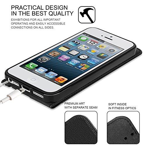 Custodia iPhone 5 - SUPAD® Ultra sottile Custodia Flip Case In Pelle per Apple iPhone 5/5S/SE (Nero) Marrone