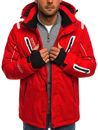 OZONEE Herren Winterjacke Skijacke Parka Windjacke Jacke Kapuzenjacke Wärmejacke Wintermantel Coat RED FIREBALL F802 ROT L