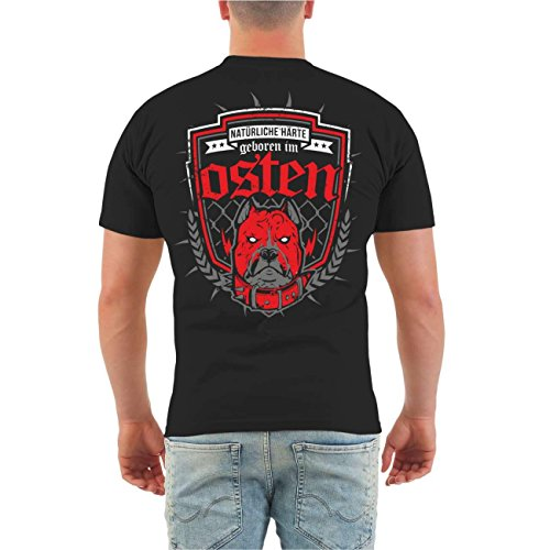 Männer und Herren T-Shirt Geboren im Osten (mit Rückendruck) Größe S - 8XL Körperbetont schwarz
