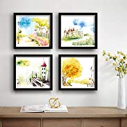 SAF Designer Set of 4 UV Textured Painting (19 x 19 Inches, SAF_SET4_2)