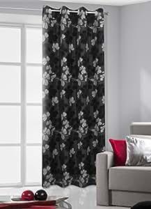 140x245 schwarz grau weiß Vorhang Vorhänge Ösenschal Fensterdekoration Gardine Blickdicht Blumenmuster black grey white 003