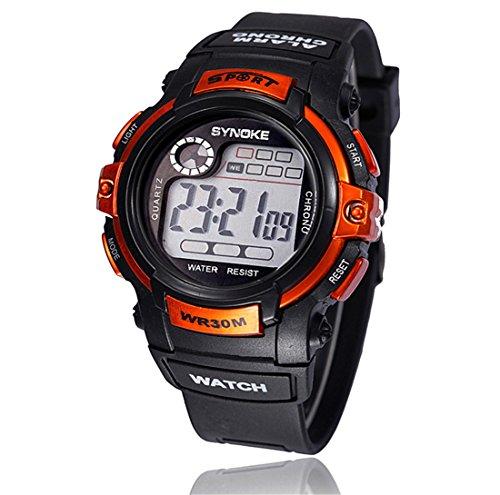 Boy multifunción LED reloj de cuarzo digital, Longrareloj deportivo a prueba de agua,NARANJA