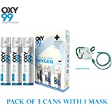 OXY99 Portable Oxygen Can With Oxygen Face Mask/Pack of 3 oxygen can & 1 oxygen face mask
