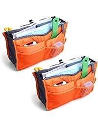 MagikMagik - Bolso organizador, grande, extensible, pack de 2unidades, con asas, ,  11*7*1 inch,  Naranja.,, 1.00[set de ]
