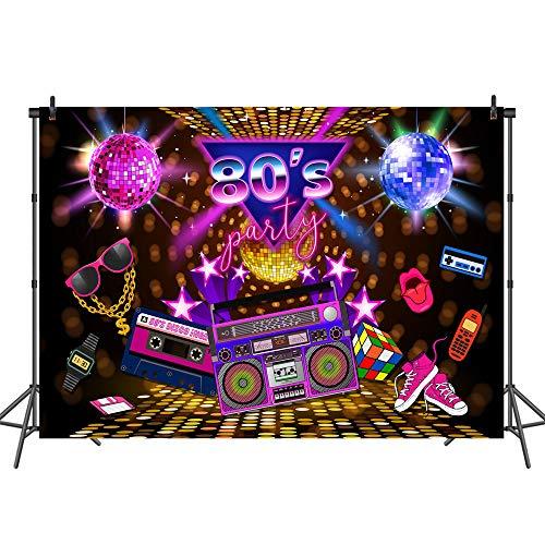 rund 80er Jahre Party Hintergrund Disco Thema Retro Stil Fotohintergrund 7x5 80er Geburtstag Hintergrund Schild 1980er Jahre Neon 80er Jahre Fotobooth Requisiten ()