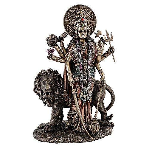 "Collectible India 11"" Tall Maa Durga Idols Murti Hindu Goddess Durga Statue with Lion Standing Gods Figurine Diwali Gifts"