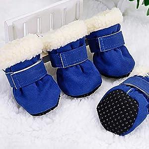 QXLXL 4pcs Pet Dog Chaussures imperméables Bottes d'hiver for Chien Chaussettes Anti-dérapant Chiot Cat Pluie Neige Bottillons Chaussures for Petits Chiens Chihuahua