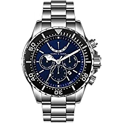 MARC & SONS 1000M automatic watch - Professional mechanical watch Power reserve - MSD-042