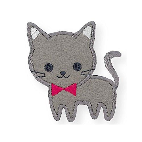 KIYOHARA Patches (Applikationen) zum Aufbügeln. Kätzchen mit Fliege Krawatte. Extra stark haftend für Kinder DIY Kleidung Patches Aufkleber für T-Shirt Jeans Kleidung Taschen - Patch-krawatte
