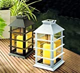Schwarze moderne Solarlaterne mit flackernder LED Kerze 35 cm und Solarmodul Laterne - mit realistischem Flackern der LED Kerze für täuschend echtes Kerzenimitat - witterungsbeständig und bestens für den Außeneinsatz geeignet