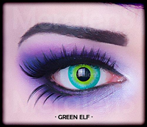 Meralens A0236 Green Elf Kontaktlinsen mit Pflegemittel mit Behälter ohne Stärke, 1er Pack (1 x 2 Stück)