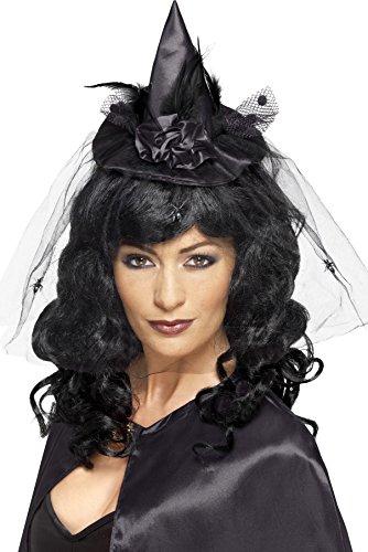 Smiffys, Damen Mini Hexen Hut mit Netzdetail, One Size, Schwarz, (Hexen Hut Mini)