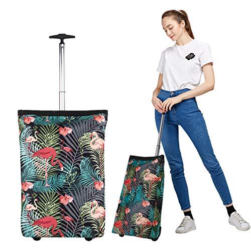 MEYLEE Deluxe Rolling Shopper-Reisetasche, Zusammenklappbare Trolley-Taschen, Faltende Einkaufstasche, Grün, Einheitsgröße -